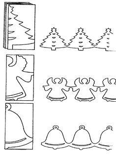 DIY; Cut a Fancy Cute Garland for Christmas with these Tree, Angel or Bell to Decorate your Home/Hallway/window/classroom. :-D DIY; Maak een vrolijke en schattige vlaggetjeslijn voor Kerstmis van deze Kerstboom, Engel of Kerstbel, om je huis/klas/raam/kamer mee te versieren. From www.kerst.crea-kids.nl
