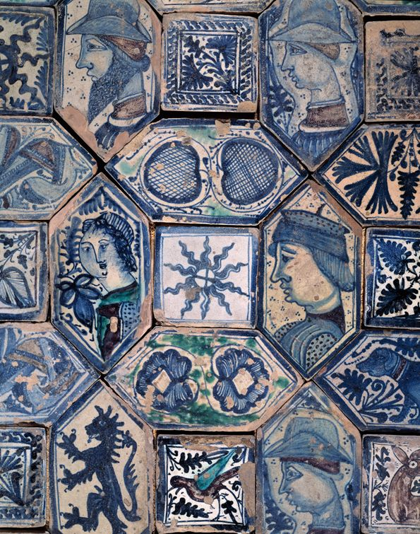 Medieval tiles at St. John's Chapel/San Giovanni a Carbonara (the coal-carrier), Naples, Augustinian, founded 1343