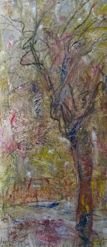 I lar baire, (in between), cold wax/ mixed media on mylar,  20x48in, 2012, available