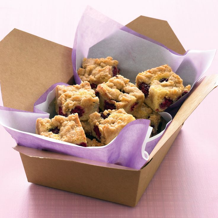 Delight picnic-goers with a portable version of summer berry crumble: a perfect marriage of tart fruit and tender cake, capped with a slightly crunchy topping.