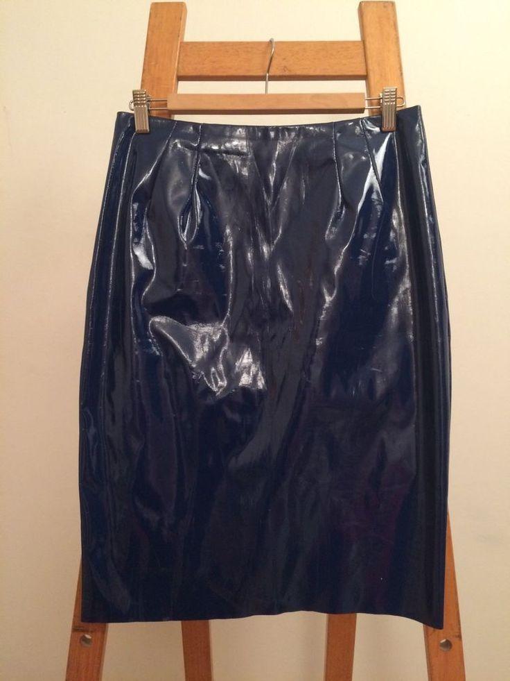 topshop blue pvc knee length skirt size 12 pvc