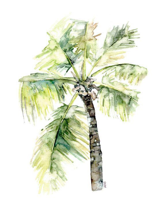 Palma árbol pintura  impresión de Original playa de acuarela