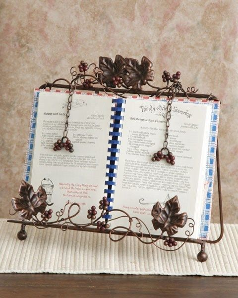 finest new tuscan cookbook holder book wrought iron vine grape leaves italian country with iron cookbook holder