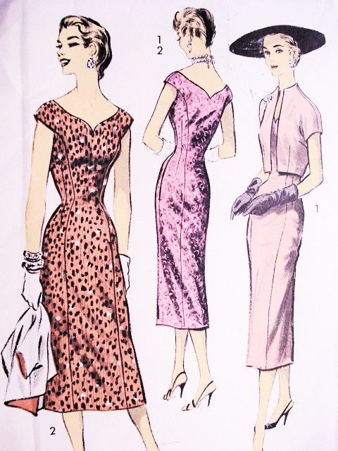1950s BOMBSHELL Molded Princess Sheath Dress Pattern ADVANCE 8007 Curved V Neckline Cocktail Party Evening Dress and Jacket Bust 30 Vintage Sewing Pattern