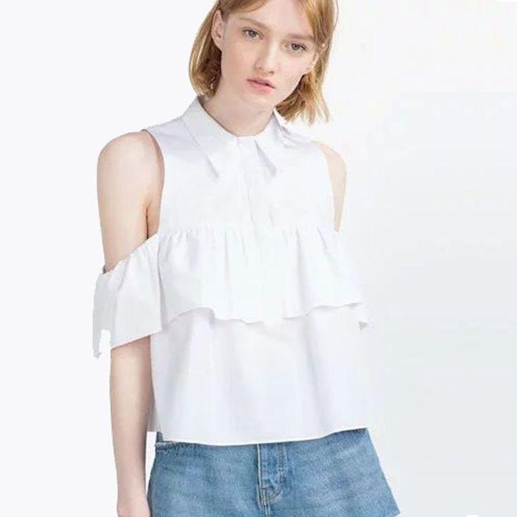 Off Shoulder Ruffles Women Blouse Short Shirts