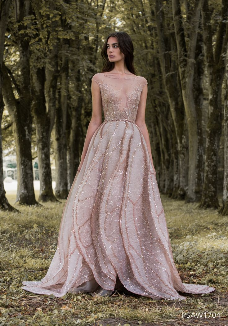 PSAW1704 - Ballgown with layered wing petal skirt