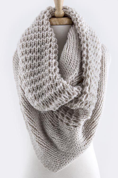 Ivory Oversized Knit Infinity Scarf