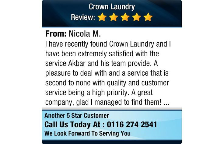 I have recently found Crown Laundry and I have been extremely satisfied with the service...