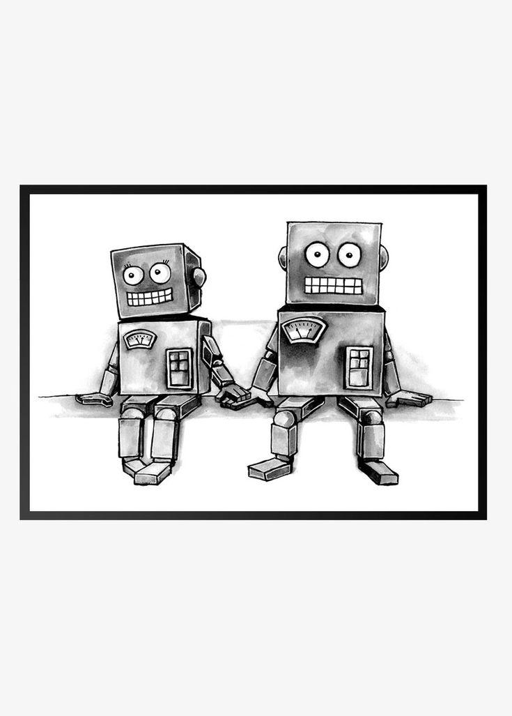 Superflot tegnet plakat med to robotter. Passer rigtig godt til det kreative arbejdsværelset eller børneværelset. KLIK HER og se den flotte plakat.