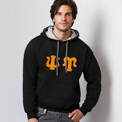 Psi Upsilon Contrast Hoody with FLOCK - Gildan 185C - TWILL