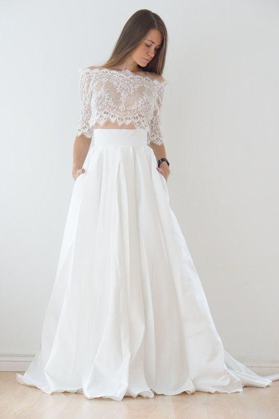 Crop Top wedding dress, satin wedding dress, lace top, lace bolero, wedding dress with pocket, wedding dress with tail, crop top dress