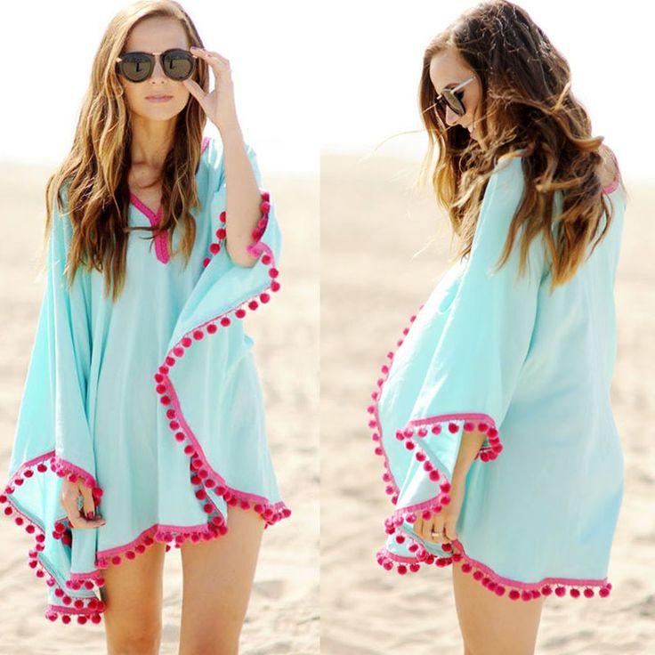 Bohemian Dress Fashion Blue Summer Beach Dress Batwing Sleeve Women Sexty Casual Dresses Plus Size Clothing