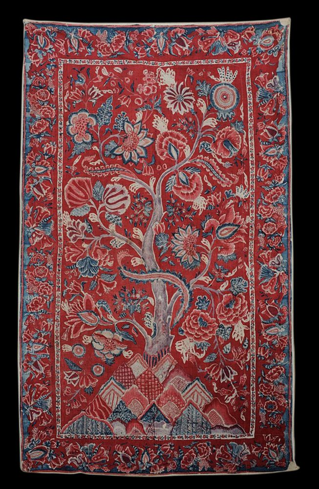 Indian chintz palampore, ca 1700; likely made on the Coromandel Coast