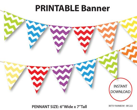 Printable banner, chevron banner, rainbow banner, printable, birthday banner, baby shower banner, party printables, banners, chevron party, diy