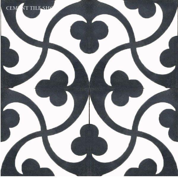 Cement Tile Shop - Encaustic Cement Tile Trebol Black