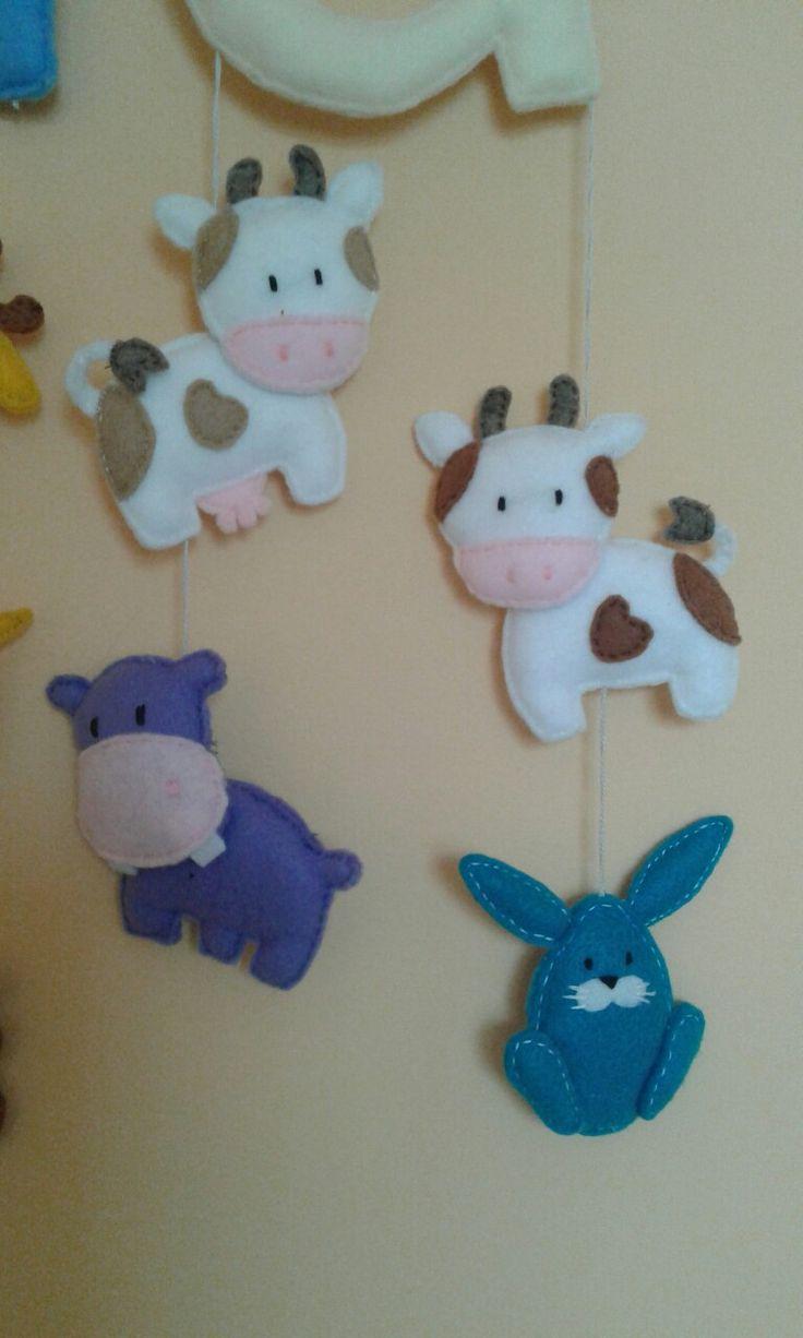 Krowa, hipopotam, zając filc