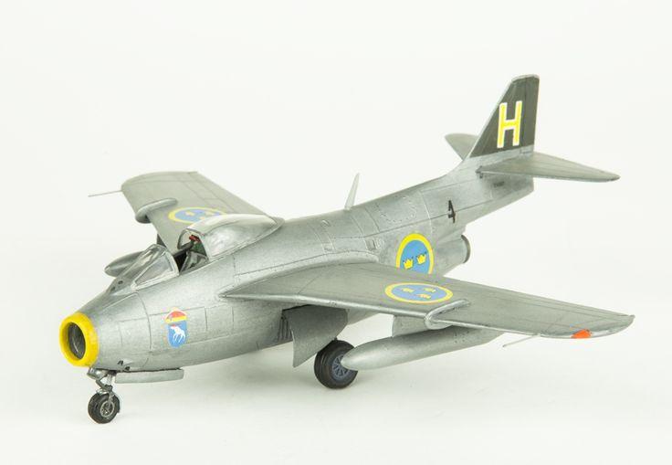 Model aeroplane SAAB 29 Tunnan. Skala 1:72   Flygvapenmuseum   CC BY