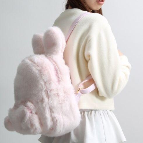 Harajuku kawaii cute sweet fashion bunny ears tail backpack schoolbag