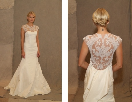 Art decoration wedding gowns 2013 with illusion back by Lela Rose