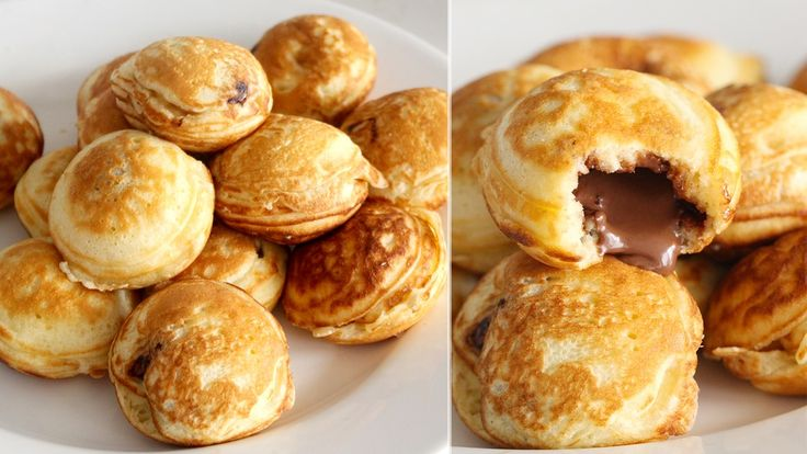 Recipe with video instructions: These mini pancakes called ebelskivers originate in Denmark and can be stuffed with whatever you like.  Ingredients: 1 cup all-purpose flour, 1 ½ tsp sugar, ½ tsp baking powder, ¼ tsp salt, 2 eggs, yolks and whites separated, 1 cup milk, 2 tbsp unsalted butter, melted and room temperature, cooking spray, nutella