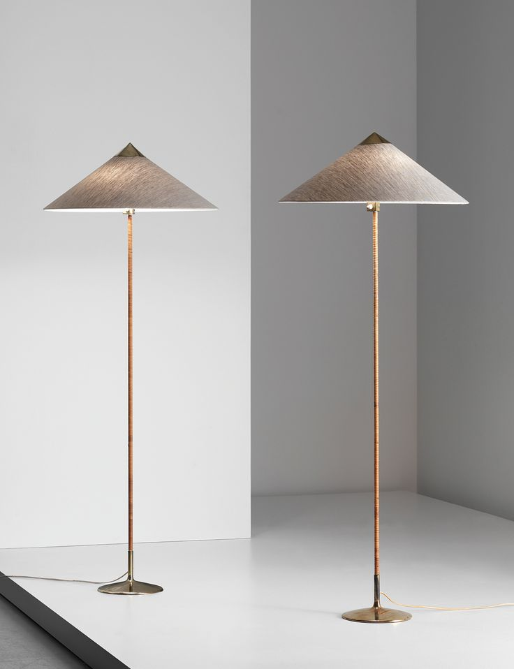 M paavo tynell painted metal brass and leather floor lamps for taito oy
