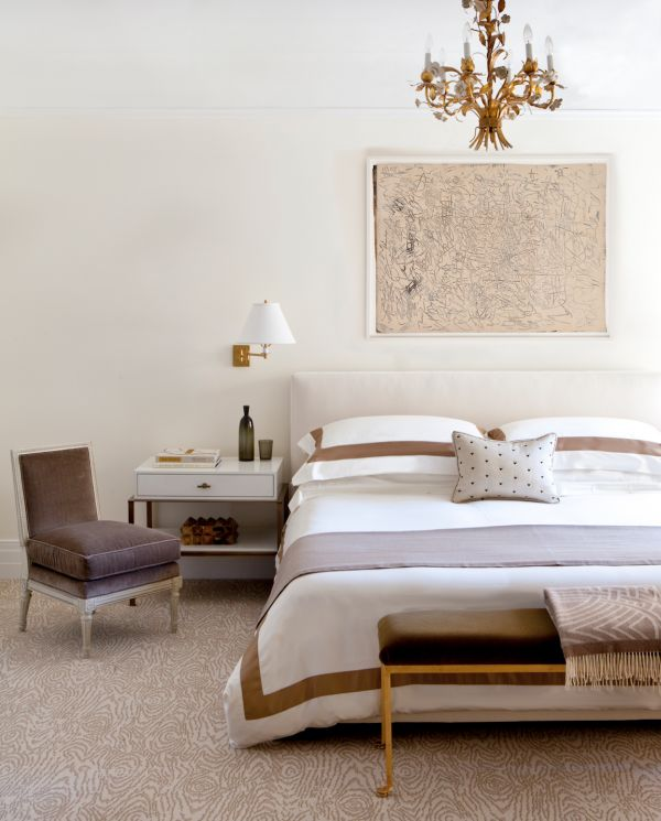 bedroom, white and brown, wide border bedding, neutral, art above bed