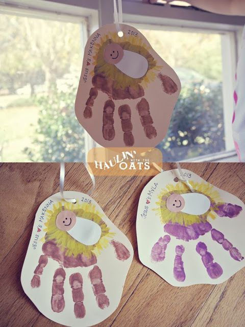 Christmas ornament, baby Jesus handprint manger