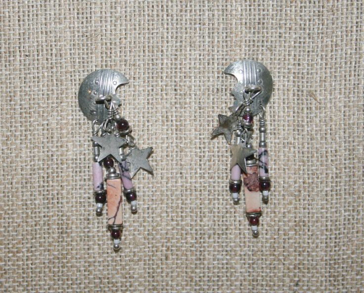 Tabra Moon and Stars Rhodonite, Garnet SS Post Earrings! by Route66Diner on Etsy
