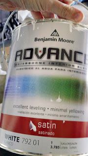 From what I read, the best thing to use on cabinets is an oil-based paint or alkyd because of its durability and easy-to-clean surface.  Again, I was faced with the issue of VOCs and fumes.  Fortunately, I found a product that mimics oil-based paint, but is water-based.  Benjamin Moore's Advance.