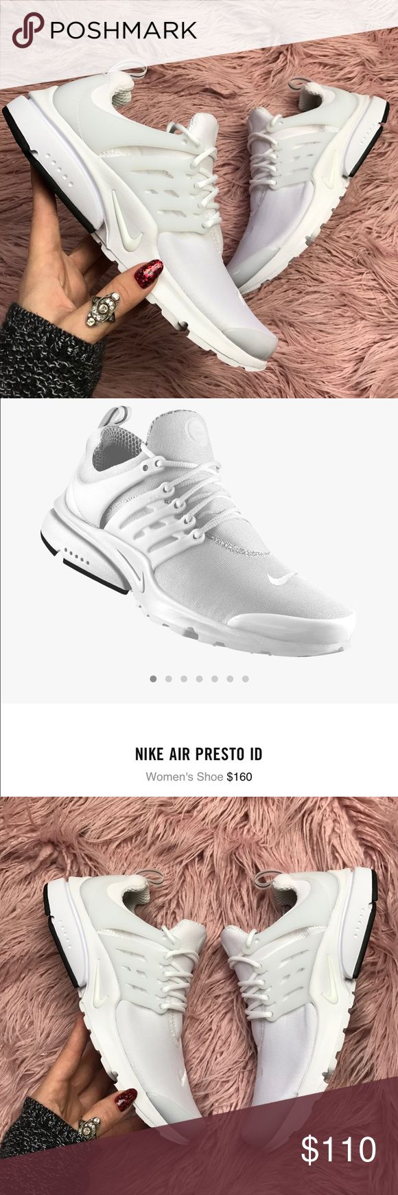 At Nike ID Presto all white Brand new no box,custom made!price is firm! Dynamic mesh upper that stretches with your foot Molded midfoot cage offers lightweight support Full-length Phylon midsole and Air-Sole heel unit provide soft, lightweight cushioning Duralon outsole with reinforced rubber at the heel for durable traction Vertical and horizontal flex grooves give you flexibility in all directions Nike Shoes Athletic Shoes
