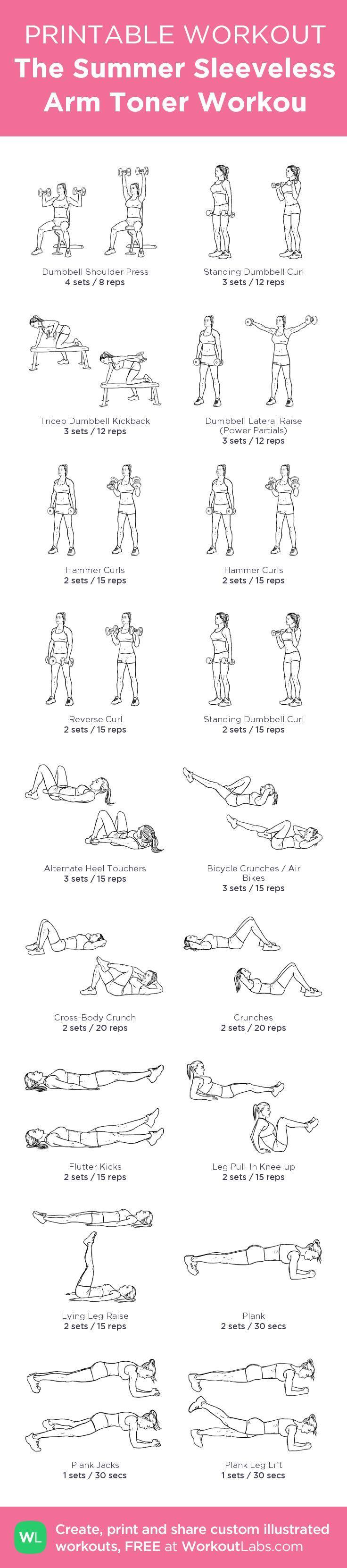 The Summer Sleeveless Arm Toner Workou: my custom printable workout by @WorkoutLabs #workoutlabs #customworkout