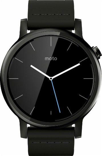 Motorola - Moto 360 2nd Generation Men's Smartwatch 42mm Stainless Steel - Black…