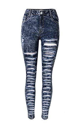 c2758442ce1c Jeans Skinny da Donna con Alta Vita A Semplice Glamorous Fori Chern  Strappati con Jeans Stretch