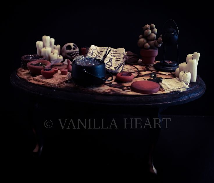 OOAK 1:12 Dollshouse Whimsical Witch & Wizard Potion Table Miniature By Vanilla Heart