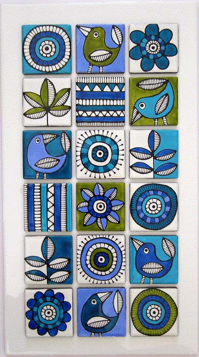 Hand painted tiles. lime and aqua design Más Más