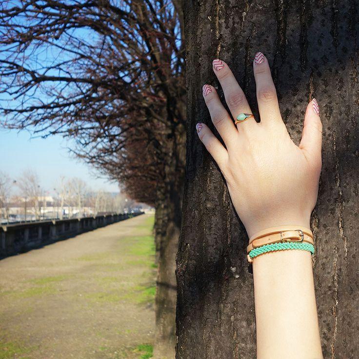 Helena Rohner SS14, leather wrist wrap with aqua string #helenarohner #bracelet