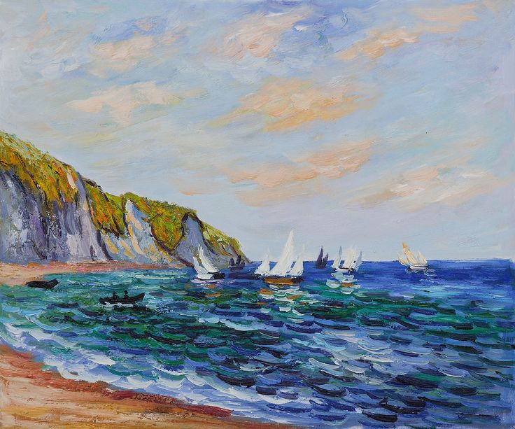 "Bring the beach to your home with nautical detailing and seashore-inspired accessories like Claude Monet's work of art ""Cliffs and Sailboats at Pourville."" #homedecor  #nautical  #art"