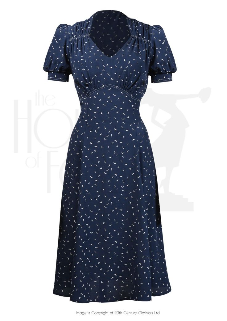 1940s Perfect Tea Dance Dress in Starling Rayon Crepe