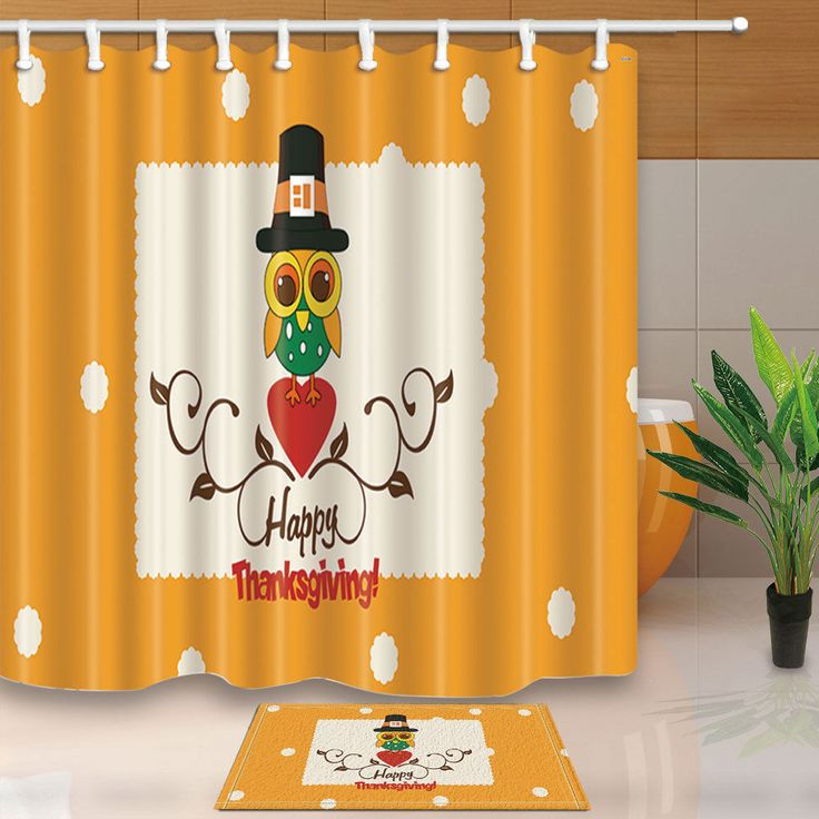Thanksgiving Theme With Owl Shower Curtain Waterproof Fabric & 12 Hook 71X71Inch