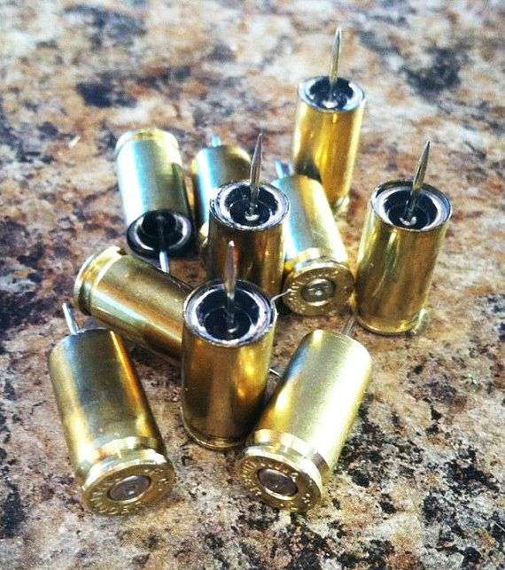 10 Ten brass Bullet Push Tacks by 2ndChance2012 on Etsy, $4.99