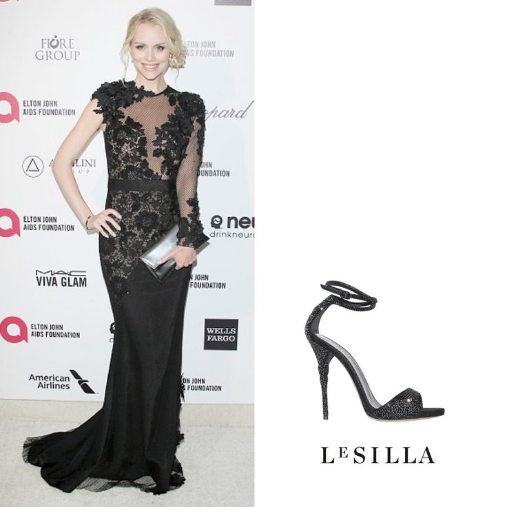 Helena Mattsson​ wearing Le Silla at the Elton John AIDS Foundation Oscar Party in Los Angeles. www.lesilla.com