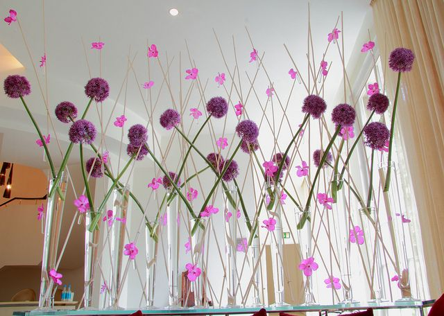 allium balls and vanda orchids