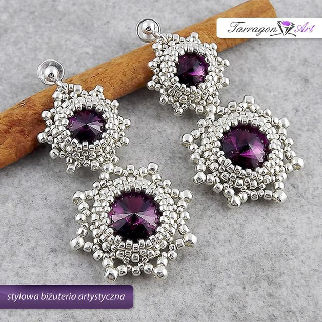 Wedding Jewellery – Beaded Earrings - Amethyst in Silver – a unique product by TarragonArt on DaWanda