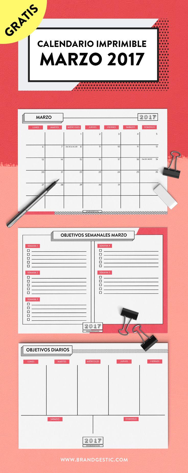 Calendario Marzo 2017 Gratis, con planificador mensual, semanal y diario.