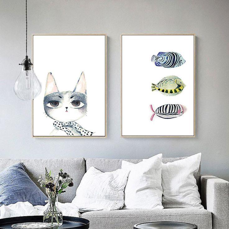 2017 Горячие Продажа Мода Fishmael Cat печать плаката картины на холсте масляными красками для гостиной Home Decor SC41