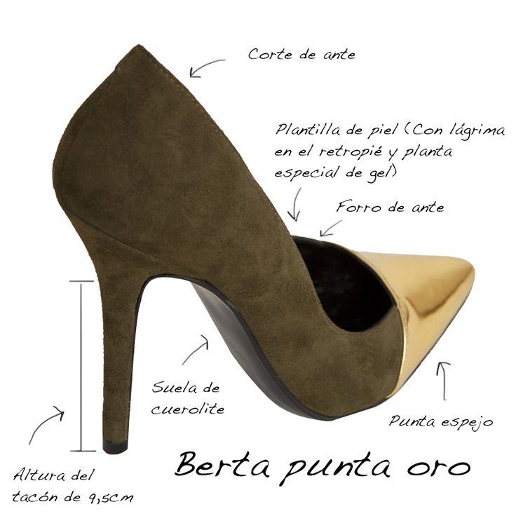 Infografía del zapato de salón Berta punta oro Mas34 www.mas34shop.com