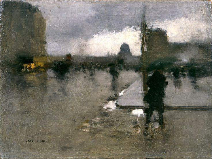 A Boulevard in Paris on a Rainy Day, The Pantheon Beyond by François-Joseph Luigi Loir (French, 1845 - 1916)