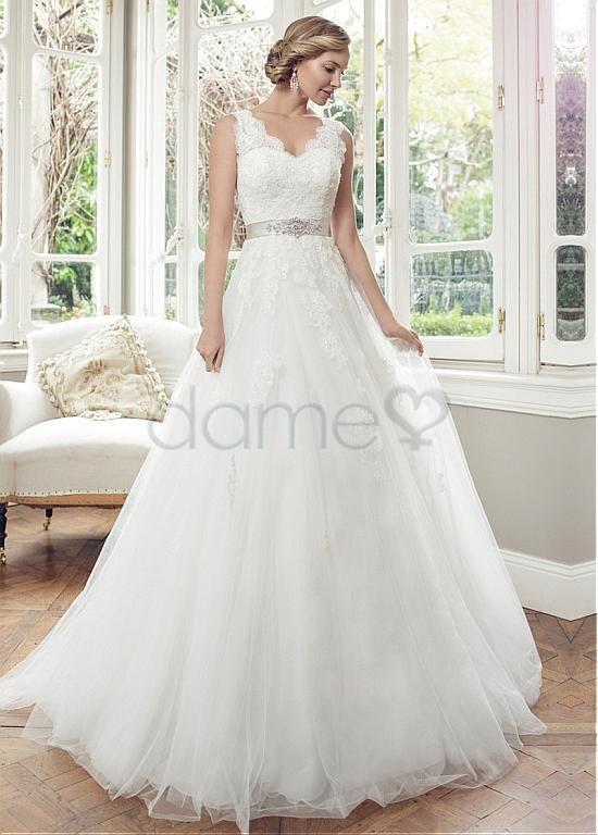 Lace A Linie V Ausschnitt Tüll Satin volle länge aufgeblähtes Brautkleider
