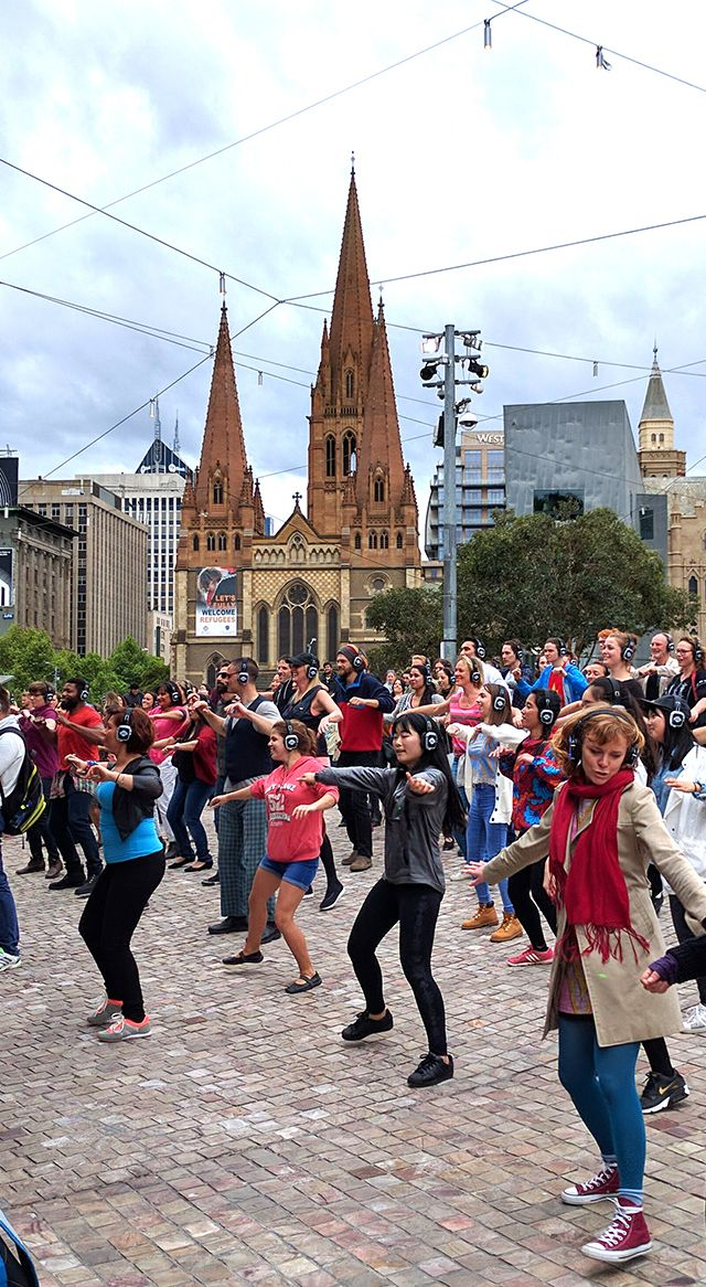 Melbourne Federation Square  'Dance Out Loud!' Silent Disco party for Beyond Blue.