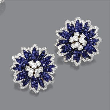 Invisibly-set sapphire and diamond flower brooch, Aletto Brothers